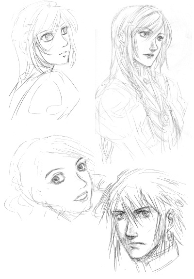 Various sketches of people. ;o